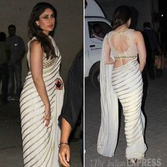 Jan, 14: Kareena in AMRITA THAKUR https://www.facebook.com/pages/Amrita-Thakur/112558018840657 Saree, Blouse by Arpita Mehta