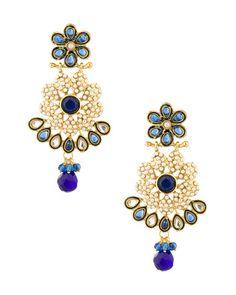 Gold Plated Designer Blue Flower Earrings |  Buy Designer & Fashion Earrings Online