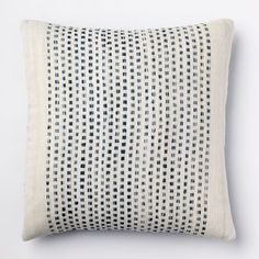 """Embroidered Dot Pillow Cover, 18""""Sq., Blue Lagoon - $39"""
