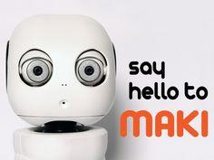 MAKI - The 3D Printable Humanoid Robot by Hello Robo Inc., via Kickstarter.  MAKI is a friendly humanoid robot designed specifically to be replicated using a desktop 3D printer. teehee.