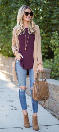 summer outfits Camel Cardigan + Burgundy Top + Destroyed Skinny Jeans