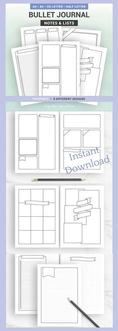 BULLET JOURNAL PAGES - Printable pages - Notes & lists to customize - A5, A4, Us Letter, Half letter - bujo printable pages - planner lists and notes printable pages #affiliate #bulletjournalpages  #bujocollection #planneraddict
