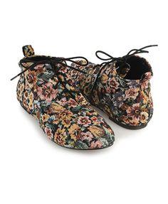 7829140d6d3 Floral Wingtip Ankle Boots Botas Floreadas