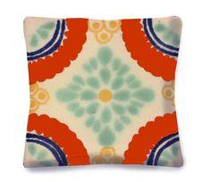 Decorative Pillow - Mexican Tile Design - Southwest - Linen backing on Etsy, $37.00