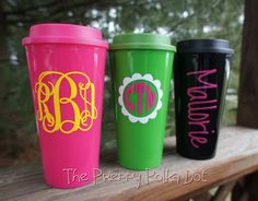 Personalized Monogram 16oz Travel Coffee Mug by ThePreppyPolkaDot, $16.50