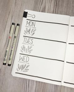 Bullet journal weekly layout, plant drawing, leaf drawings. | @olive.journals