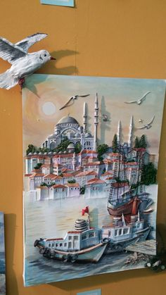 3d Painting, Texture Painting, Wooden Board Crafts, Doll House Plans, Clock Art, 3d Wall, Land Scape, Istanbul, Mermaid