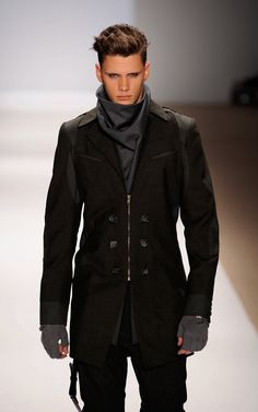 Black Military Inspired Coat with Zip Closure & Big Buttons