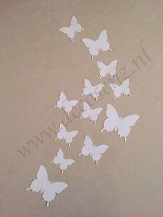 3d vlinders wit wanddecoratie