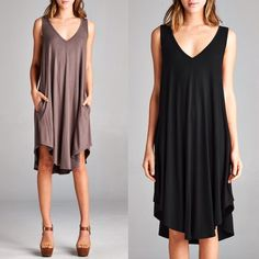 KASSLYN v neck swing dress - COCOA/BLACK Loose fit, sleeveless, scoop V-neck, swing dress. Has side pockets. This dress is made with heavyweight knit jersey that is very soft, drapes beautifully and stretches very well.  Fabric 95% Rayon, 5% Spandex Made in U.S.A Bellanblue Dresses