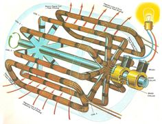 A practical generator. In this diagram the iron core that fills the space between the axle and the rotating coils has been removed for clarity.