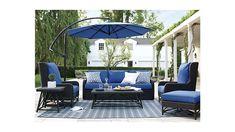 10' Round Sunbrella ® Mediterranean Blue Cantilever Patio Umbrella with Base | Crate and Barrel