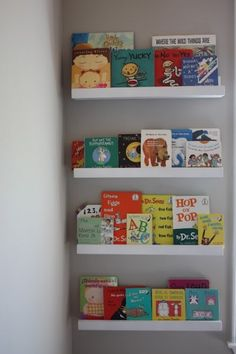 diy idea for bedrooms small book shelves behind the bedroom door.  Love the simplicity of this and what a great way to share my love of books with our future kids!