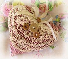 Heart Door Hanger Pillow, 6 inches, Burgundy/Ecru Check,  Prim Primitive Cloth Handmade CharlotteStyle Decorative Folk Art