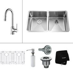 Kraus�16-Gauge Double-Basin Undermount Stainless Steel Kitchen Sink with Faucet