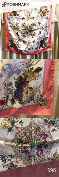 """GUCCI Vintage 1970s Silk Scarf This amazing piece is adorned with vibrant 70s florals and botanicals. 100% silk. Great vintage condition. 32""""x 32"""" Gucci Accessories Scarves & Wraps"""