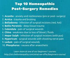 Homeopathy remedies post-surgery
