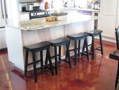 Trendy kitchen red floor home Ideas Concrete Kitchen Floor, Vinyl Flooring Kitchen, Concrete Floors, Kitchen Island With Cooktop, Dark Kitchen Cabinets, Red Floor, Rv Interior, Steel House, Stained Concrete