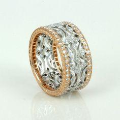 Buy Rose & white gold diamond eternity ring Sold Items, Sold Rings Sydney - KalmarAntiques #DiamondEternityRings