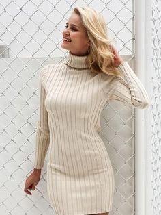 Casual turtleneck long knitted sweater dress – Gray / S - Long Sleeve Dress Long Sleeve Sweater Dress, Knit Sweater Dress, Turtleneck Dress, Ribbed Sweater, White Turtleneck, Cotton Sweater, Dress Long, Gros Pull Mohair, Dress Outfits