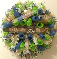Rather be Fishing Wreath  A personal favorite from my Etsy shop https://www.etsy.com/listing/237807413/rather-be-fishing-fishing-deco-mesh