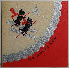 30s Art Deco Skiing Scottie Dogs Vintage Christmas Card relicsnbooks