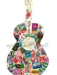 Postage stamp Guitar. Stamps from the 60's. by UpAgainstTheWall