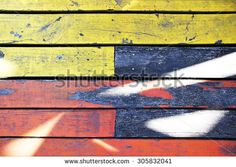 Distressed rustic wood painted yellow and red - stock photo Jamaican Restaurant, Rustic Wood, Painting On Wood, Royalty Free Stock Photos, Yellow, Cats, Illustration, Red, Pictures