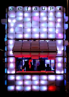 Temporary bar at the School of Architecture, University of Porto 2008 - made from 420 'Trofast' polypropylene IKEA storage boxes, lit from the interior of the boxes with LED system. MDF frames and tubular met