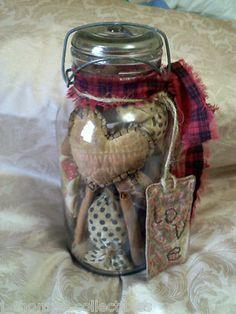 Folk Art Hearts Glass Canning Jar