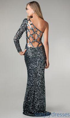 Dress, One Shoulder Floor Length Sequin Dress - Simply Dresses