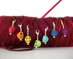 Skull Crochet Stitch Markers Goth Knitting Gothic Crochet Dia De Los Muertos Set of 7 Removable Stitch Markers Rainbow ROYGBIV