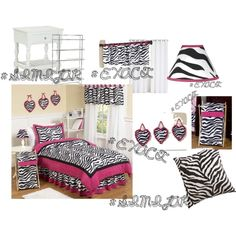 Pink Zebra Bedroom! by iloveonedirection17 on Polyvore