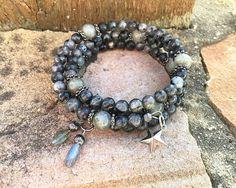 Labradorite stacked memory wire bracelet natural Labradorite