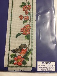 Robin Bird Permin Scandinavian Needlework Cross Stitch Bookmark Kit