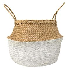 Seagrass Basket With Handles (19) - Natural & White - 3R Studios