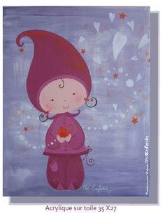 Amitié d'une Lutine & d'un zozio  Acrylique sur toile 35 X 27  Juin 2009