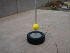 Make your own tetherball stand. Use a pole, old tire, and cement. That's what we did when I was little.
