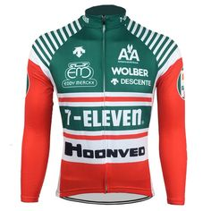 700628930 7-Eleven Descente Long Sleeve Retro Cycling Jersey