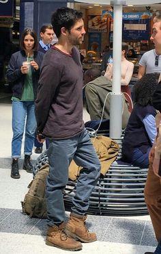 Colin Morgan filming 'Humans'