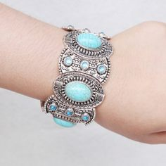 Vintage Faux Turquoise Rhinestone Bracelet For Women #jewelry, #women, #men, #hats, #watches, #belts, #fashion