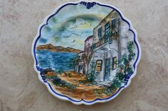 Vintage Hand Painted Signed Greece Collector Plate Wall Hanging Home Decor  26cm