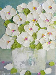 "Impasto Oil Painting,""Simple Whites"" Floral, Shabby Chic Oil Painting, Impasto, Floral Painting, Wedding, Mothers Day, For Her, Decor"