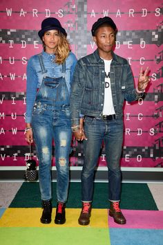 Helen Lasichanh and Pharrell Williams at the 2015 MTV Video Music Awards (Photo: Frazer Harrison/Getty Images)