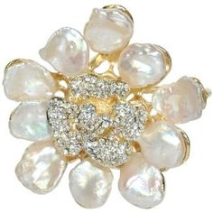 Abstract Pearl Flower Petal Crystal Pistil Gold-Tone Brooch Pin Pendant   https://www.facebook.com/divinesolitaires