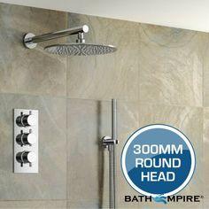 300 mm Round Head & Hand Held | Thermostatic Mixer Shower Set - BathEmpire Mixer Shower, Shower Kits, Shower Valve, B & B, Door Handles, Hold On, Scrubs, Bathrooms, Amp