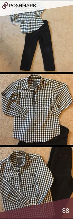 Boy's KENNETH COLE REACTION 2-pc pant set, size 7 Boy's KENNETH COLE REACTION 2-pc pant set, size 7.  Black & white checkered Kenneth Cole Reaction long sleeve button up shirt.  Black Kenneth Cole Reaction adjustable corduroy pants. Kenneth Cole Reaction Matching Sets
