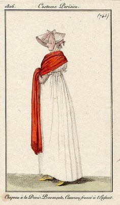 A long red-orange stole 1806 Costume parisien