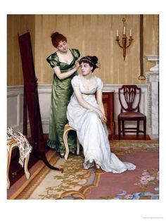 Charles Haigh-Wood [English portrait and genre artist. The Finishing touch Jane Austen, A4 Poster, Poster Prints, Art Prints, Regency Era, Victorian Art, Victorian Paintings, Victorian Women, Classical Art
