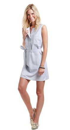 Stripe Oxford Sleeveless Shirt Dress